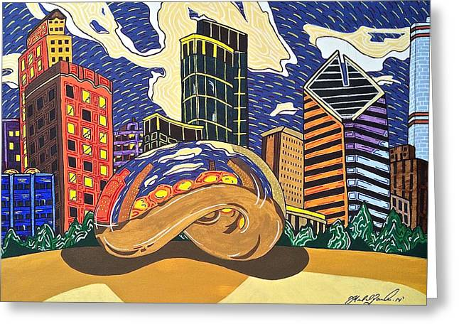 The Bean Drawings Greeting Cards - Cloud Gate Greeting Card by Michael  Parrella