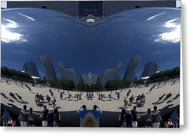 The Bean Greeting Cards - Cloud Gate NE Reflection Mirrored Image 02 Greeting Card by Thomas Woolworth