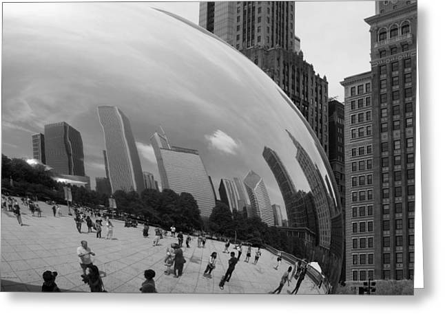 White Photographs Greeting Cards - Cloud Gate North Reflection BW Greeting Card by Thomas Woolworth