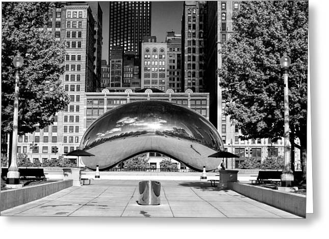 Chicago Reflections Greeting Cards - Cloud Gate Park Black and White Greeting Card by Christopher Arndt