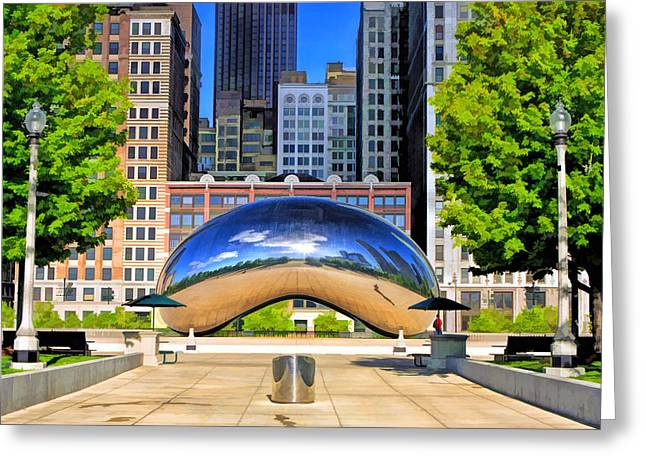 Chicago Reflections Greeting Cards - Cloud Gate Park Greeting Card by Christopher Arndt