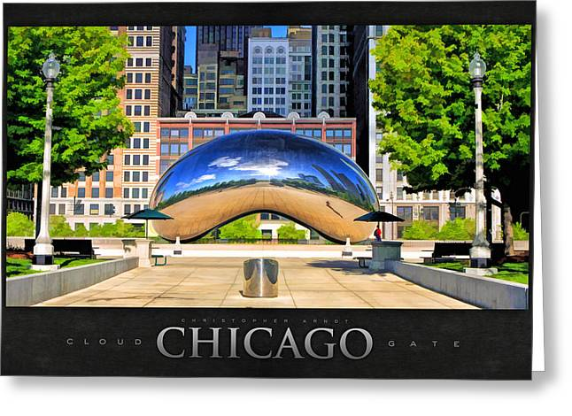 Chicago Reflections Greeting Cards - Cloud Gate Park Poster Greeting Card by Christopher Arndt