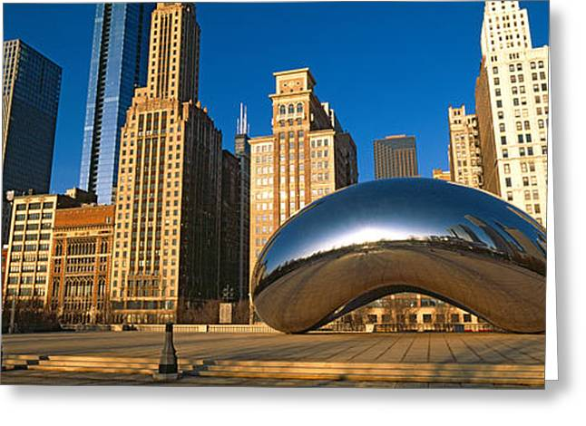 The Bean Greeting Cards - Cloud Gate Sculpture With Buildings Greeting Card by Panoramic Images