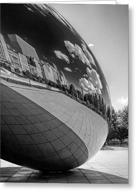 Chicago Reflections Greeting Cards - Cloud Gate Teardrop Black and White Greeting Card by Christopher Arndt