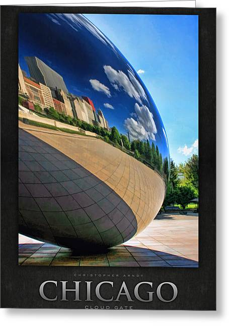 Chicago Reflections Greeting Cards - Cloud Gate Teardrop Poster Greeting Card by Christopher Arndt