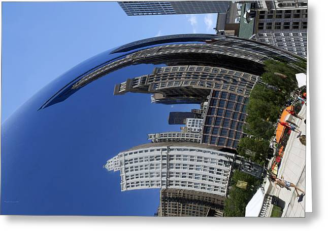 Stainless Steel Greeting Cards - Cloud Gate West Reflection Flipped Greeting Card by Thomas Woolworth