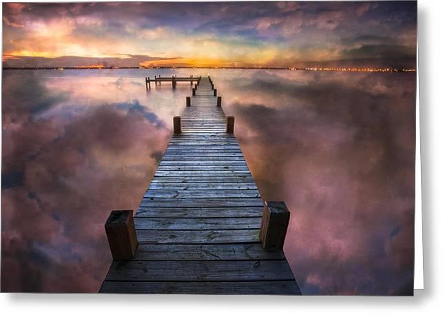 Fishing Boats Greeting Cards - Cloud Lake Greeting Card by Debra and Dave Vanderlaan