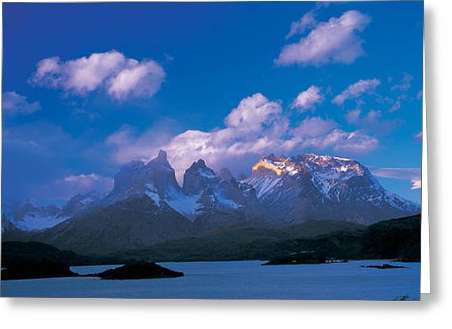 Paine Greeting Cards - Cloud Over Mountains, Towers Of Paine Greeting Card by Panoramic Images