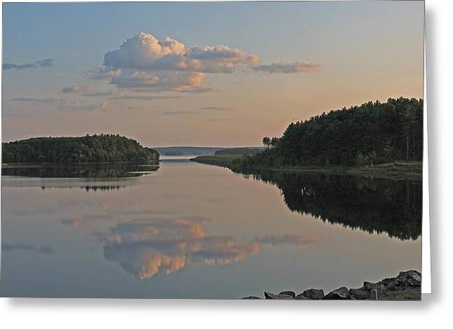 Central Ma Greeting Cards - Cloud Reflection on Wachusett Reservoir Greeting Card by Michael Saunders