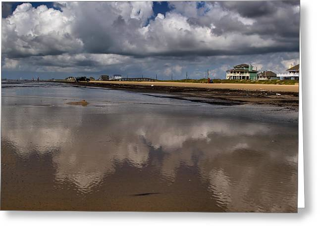 Galveston Digital Greeting Cards - Cloud Reflections Greeting Card by Linda Unger