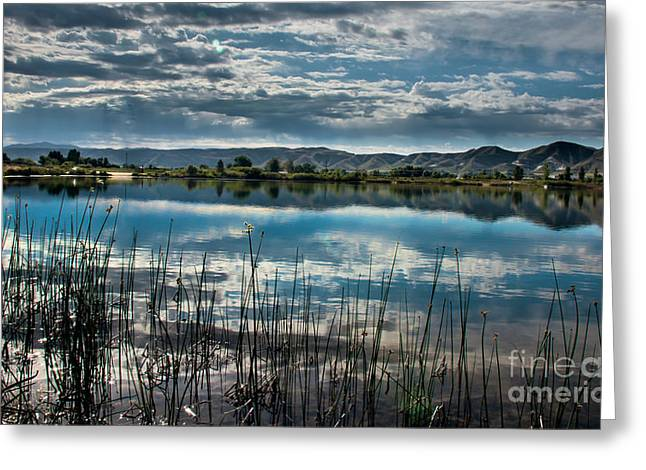 Haybales Greeting Cards - Cloud Reflections Greeting Card by Robert Bales