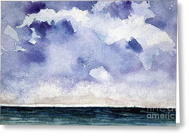 Faa Featured Paintings Greeting Cards - Cloud Regatta Greeting Card by Joan Hartenstein