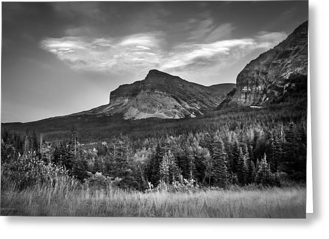 Many Glacier Greeting Cards - Cloud Spirits Glacier National Park BW Greeting Card by Rich Franco