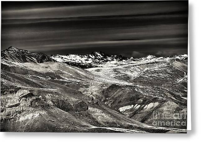 Skiing Art Posters Greeting Cards - Cloud Streaks Over the Andes Greeting Card by John Rizzuto