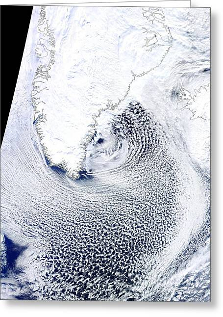 March 2012 Greeting Cards - Cloud streets, Greenland, satellite Greeting Card by Science Photo Library