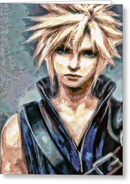 Final Fantasy Greeting Cards - Cloud Strife Greeting Card by Joe Misrasi