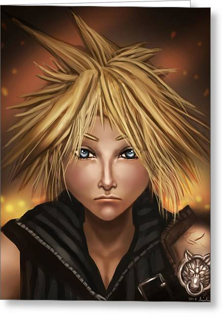 Final Fantasy Greeting Cards - Cloud Strife Greeting Card by Michael Lenehan