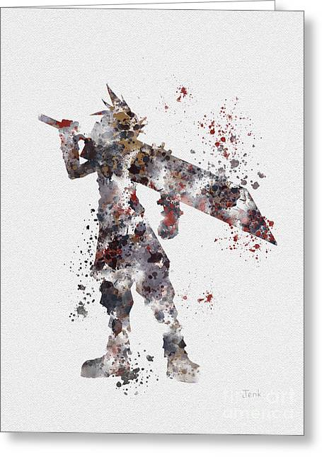 Character Mixed Media Greeting Cards - Cloud Strife Greeting Card by Rebecca Jenkins