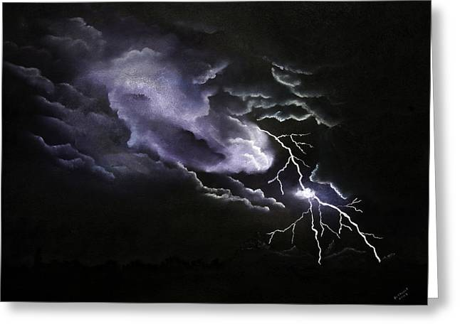 Storm Clouds Pastels Greeting Cards - Cloud to Ground Greeting Card by Cynthia Lassiter