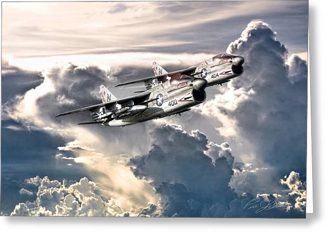 Jungle Warfare Greeting Cards - Cloud Top Corsairs Greeting Card by Peter Chilelli