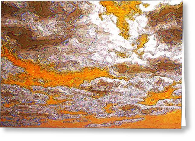 Abstract Rain Greeting Cards - Cloud Topography Orange Greeting Card by Ann Johndro-Collins