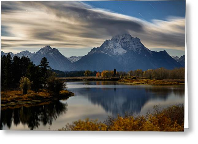 Night Photography Workshop Greeting Cards - Cloud Trails And Star Trails On Mount Moran Greeting Card by Mike Berenson