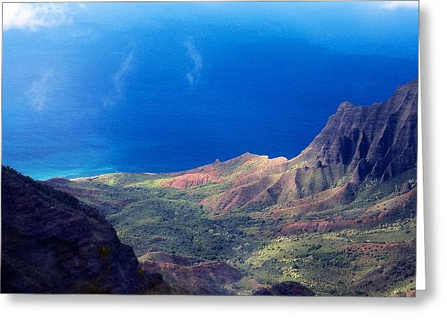Panoramic Ocean Greeting Cards - Cloud Whispers over a Na Pali Coast Valley Greeting Card by Stuart Litoff