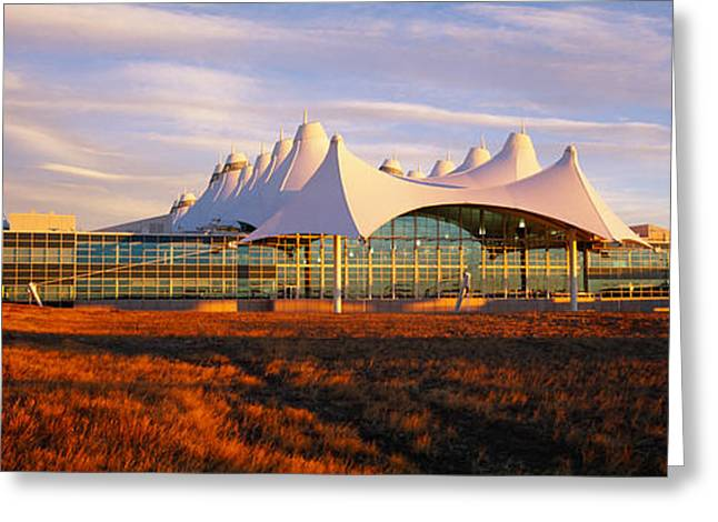 International Airports Greeting Cards - Clouded Sky Over An Airport, Denver Greeting Card by Panoramic Images