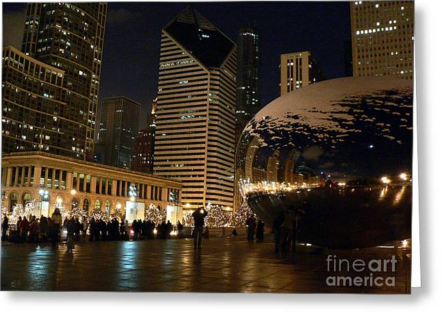 The Bean Greeting Cards - Cloudgate in snow Greeting Card by David Bearden
