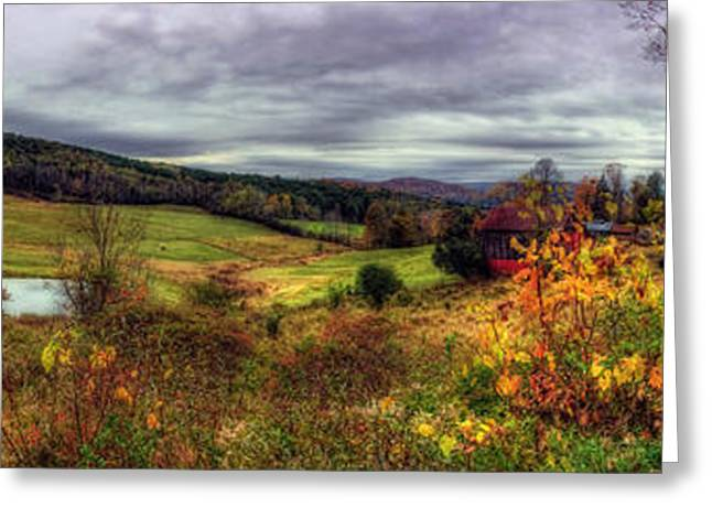 Autumn Scenes Greeting Cards - Cloudland Rd Panoramic - Vermont Greeting Card by Joann Vitali