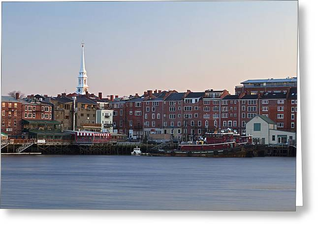 Recently Sold -  - Ocean Shore Greeting Cards - Cloudless Portsmouth Skyline Greeting Card by Eric Gendron