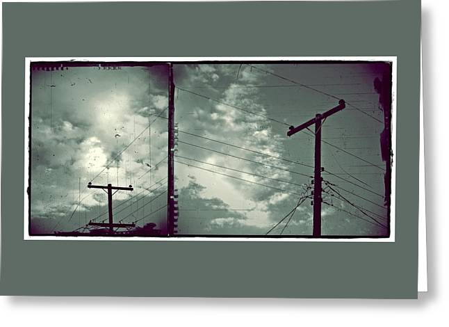 Generators Greeting Cards - Clouds and Power Lines Greeting Card by Patricia Strand