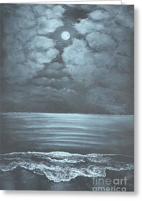 Moon Beach Drawings Greeting Cards - Clouds and Waves Greeting Card by David Swope