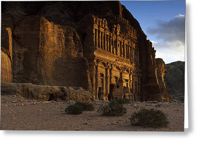 Rock Face Greeting Cards - Clouds Beyond The Palace Tomb, Wadi Greeting Card by Panoramic Images