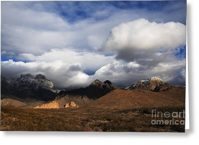 Las Cruces Photograph Greeting Cards - Clouds Building over the Organ Mountains Greeting Card by Vivian Christopher