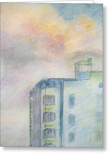 Miami Pastels Greeting Cards - Clouds Calling the at Park Central Hotel Greeting Card by Elaine Marie