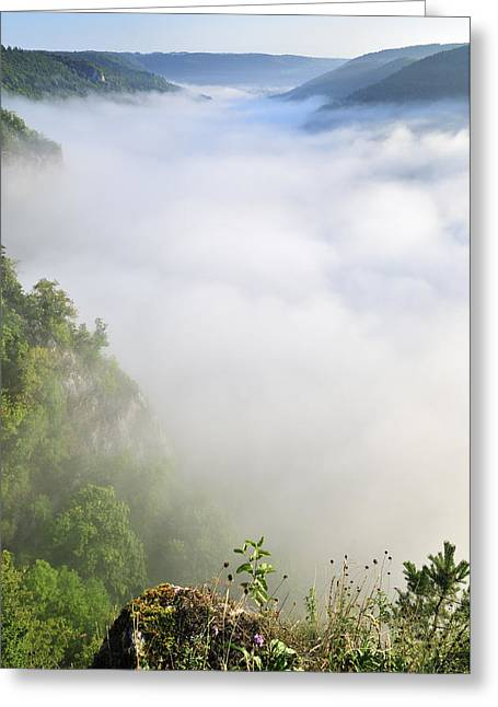 Above The Clouds Greeting Cards - Clouds covering the beautiful landscape of the valley Greeting Card by Matthias Hauser