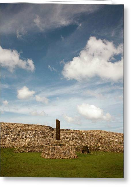 Clouds Drift Over The Stone Walled Greeting Card by Dave Bartruff