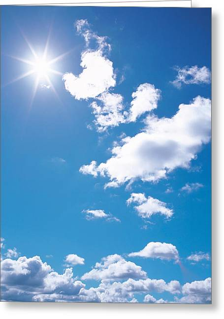Cumulus Clouds Greeting Cards - Clouds In Blue Sky, Lens Flare Greeting Card by Panoramic Images