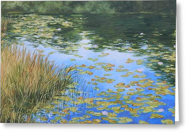 Reflections Of Sky In Water Greeting Cards - Clouds in the Pond Greeting Card by Anna Lowther