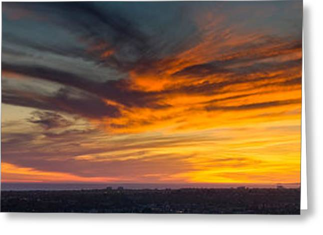 California Ocean Photography Greeting Cards - Clouds In The Sky At Dusk, Marina Del Greeting Card by Panoramic Images