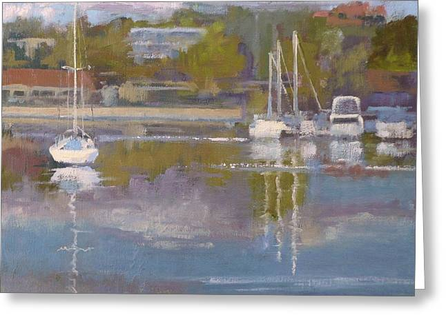 Boats In Harbor Greeting Cards - Clouds in the Water Greeting Card by Sharon Weaver