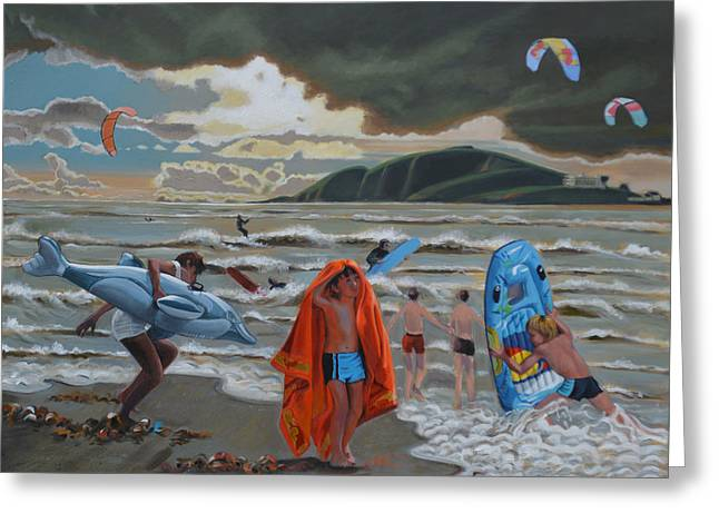 Kite Surfing Paintings Greeting Cards - Clouds of Glory Greeting Card by Arthur Glendinning