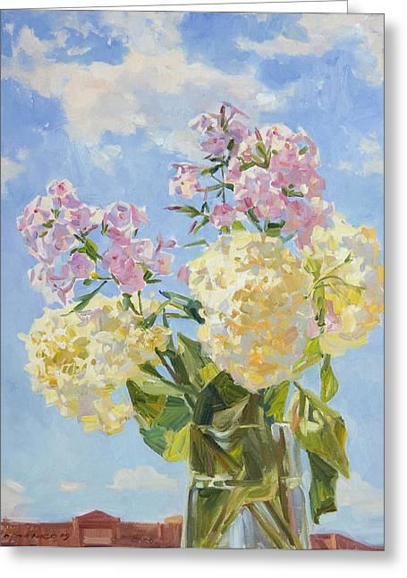 Flower Still Life Greeting Cards - Clouds of hydrangea Greeting Card by Victoria Kharchenko