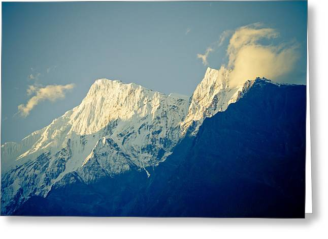 Temperature Greeting Cards - Clouds on the peak Himalayan Greeting Card by Raimond Klavins