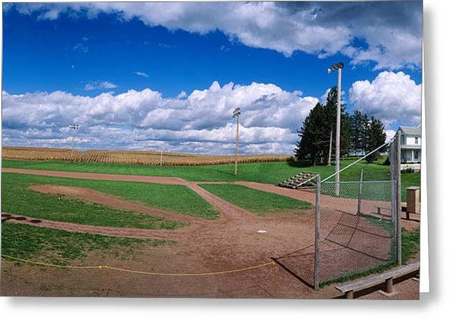 Field. Cloud Greeting Cards - Clouds Over A Baseball Field, Field Greeting Card by Panoramic Images