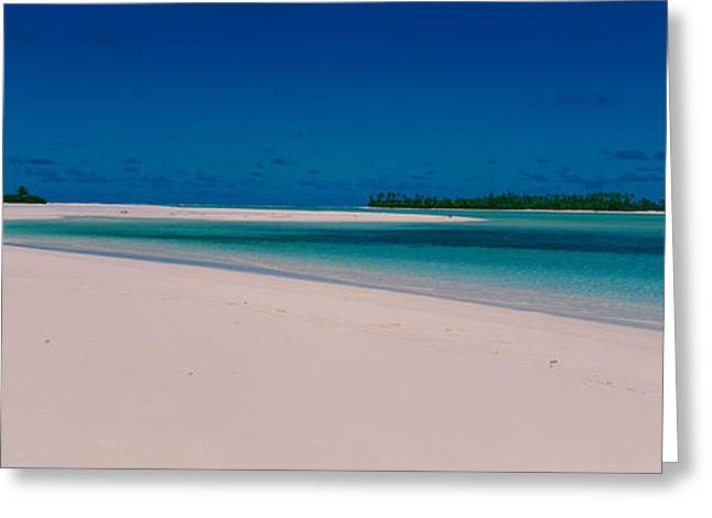 Seascape Photography Photographs Greeting Cards - Clouds Over A Beach, Aitutaki, Cook Greeting Card by Panoramic Images