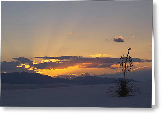 White Sands National Monument Greeting Cards - Clouds Over A Desert At Sunset, White Greeting Card by Panoramic Images