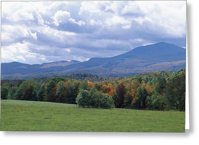 Fall Grass Greeting Cards - Clouds Over A Grassland, Mt Mansfield Greeting Card by Panoramic Images