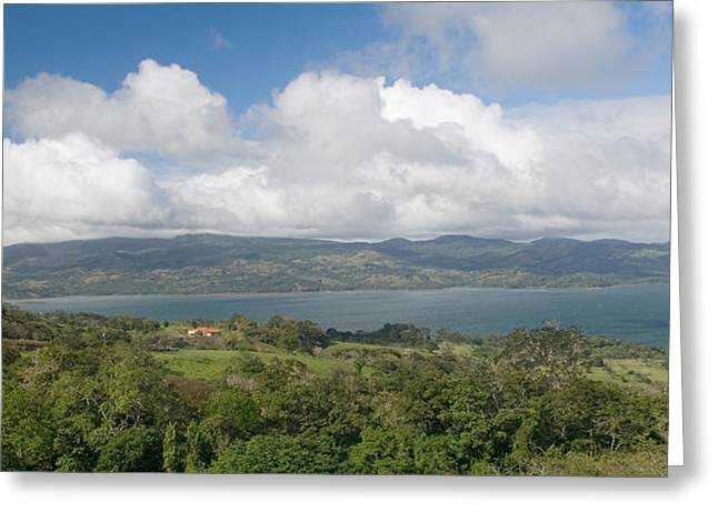 Cumulus Clouds Greeting Cards - Clouds Over A Lake, Arenal Lake Greeting Card by Panoramic Images